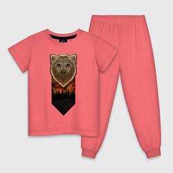 Пижама хлопковая детская Медведь: владыка леса цвета коралловый — фото 1