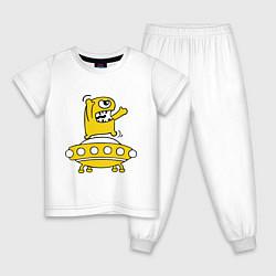 Пижама хлопковая детская Пришелец Саня цвета белый — фото 1