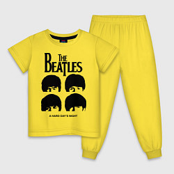 Пижама хлопковая детская A Hard Days Night цвета желтый — фото 1