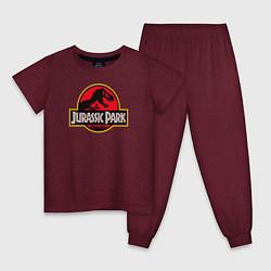 Пижама хлопковая детская Jurassic Park цвета меланж-бордовый — фото 1
