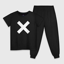 Пижама хлопковая детская The XX: White X цвета черный — фото 1