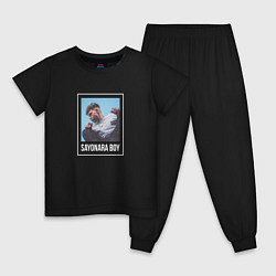 Пижама хлопковая детская Eldzhey: Sayonara Boy цвета черный — фото 1