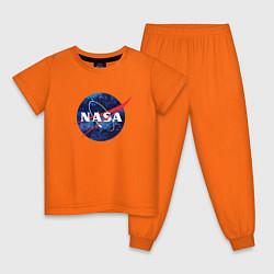 Пижама хлопковая детская NASA: Cosmic Logo цвета оранжевый — фото 1