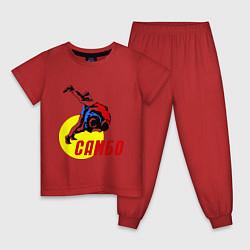 Пижама хлопковая детская Спортивное самбо цвета красный — фото 1