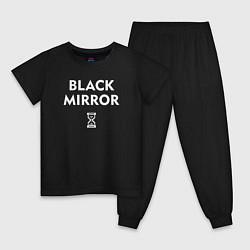 Пижама хлопковая детская Black Mirror: Loading цвета черный — фото 1