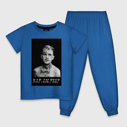 Пижама хлопковая детская RIP Lil Peep цвета синий — фото 1