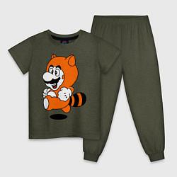 Пижама хлопковая детская Mario In Tanooki Suit цвета меланж-хаки — фото 1