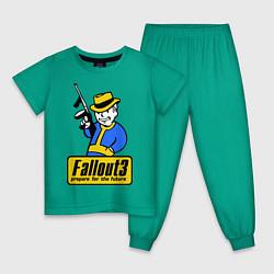 Пижама хлопковая детская Fallout 3 Man цвета зеленый — фото 1