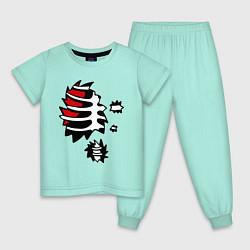 Пижама хлопковая детская Зомби-скелет цвета мятный — фото 1