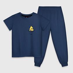 Пижама хлопковая детская Попугай в кармане цвета тёмно-синий — фото 1