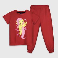 Пижама хлопковая детская Флаттершай и бабочки цвета красный — фото 1