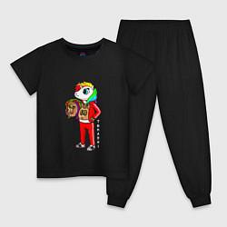 Пижама хлопковая детская Tekashi 6ix9ine цвета черный — фото 1