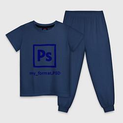 Пижама хлопковая детская Photoshop цвета тёмно-синий — фото 1