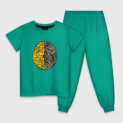Пижама хлопковая детская Мозг инженера цвета зеленый — фото 1