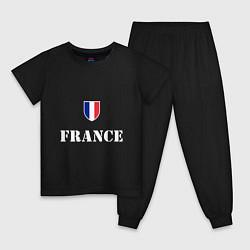 Пижама хлопковая детская France цвета черный — фото 1