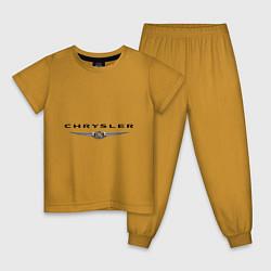 Пижама хлопковая детская Chrysler logo цвета горчичный — фото 1