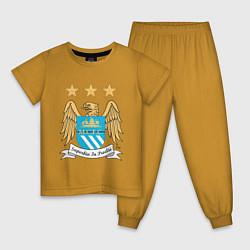 Пижама хлопковая детская Manchester City FC цвета горчичный — фото 1