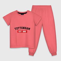 Пижама хлопковая детская FC Tottenham Est. 1882 цвета коралловый — фото 1