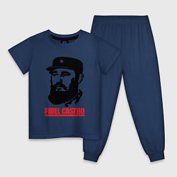 Пижама хлопковая детская Fidel Castro цвета тёмно-синий — фото 1