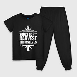 Пижама хлопковая детская Harvest Themselves цвета черный — фото 1