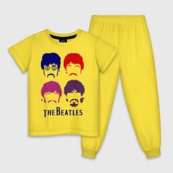 Пижама хлопковая детская The Beatles faces цвета желтый — фото 1