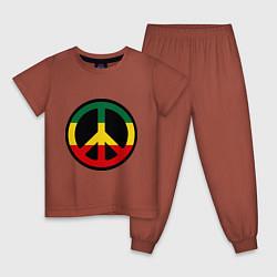 Пижама хлопковая детская Peace Symbol цвета кирпичный — фото 1