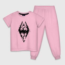 Пижама хлопковая детская TES Dragon цвета светло-розовый — фото 1