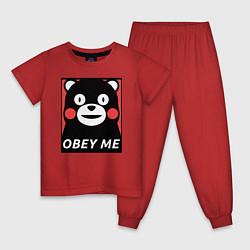 Пижама хлопковая детская Kumamon: Obey Me цвета красный — фото 1