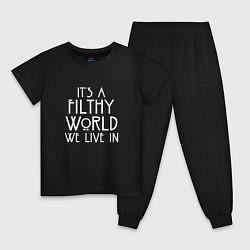Пижама хлопковая детская It's a filthy world we live in цвета черный — фото 1