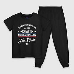 Пижама хлопковая детская Khabib Nurmagomedov est. 1988 цвета черный — фото 1