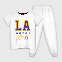 Пижама хлопковая детская Lebron 23: Los Angeles цвета белый — фото 1