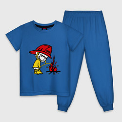 Пижама хлопковая детская Ручной пожарник цвета синий — фото 1