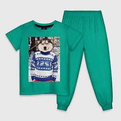 Пижама хлопковая детская Хаски в свитере цвета зеленый — фото 1