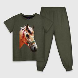 Пижама хлопковая детская Лошадь цвета меланж-хаки — фото 1