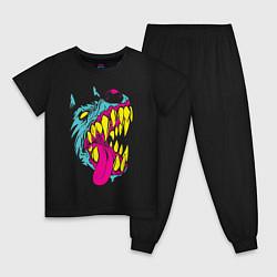 Пижама хлопковая детская Волк цвета черный — фото 1