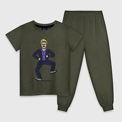 Пижама хлопковая детская Little Big цвета меланж-хаки — фото 1
