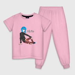 Пижама хлопковая детская Sally Face цвета светло-розовый — фото 1