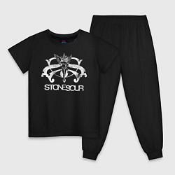 Пижама хлопковая детская Stone Sour цвета черный — фото 1