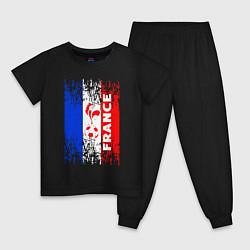 Пижама хлопковая детская France Team цвета черный — фото 1