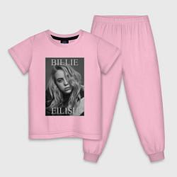Пижама хлопковая детская Billie Eilish цвета светло-розовый — фото 1