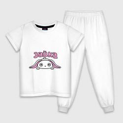 Пижама хлопковая детская Милая зайка цвета белый — фото 1