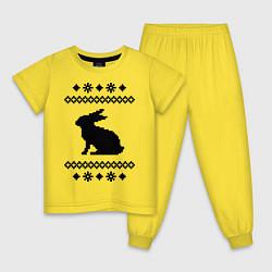 Пижама хлопковая детская Узор с зайцем цвета желтый — фото 1