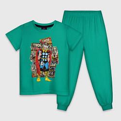 Пижама хлопковая детская Thor цвета зеленый — фото 1