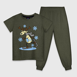 Пижама хлопковая детская Олень на лыжах цвета меланж-хаки — фото 1
