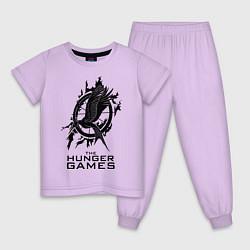 Пижама хлопковая детская The Hunger Games цвета лаванда — фото 1