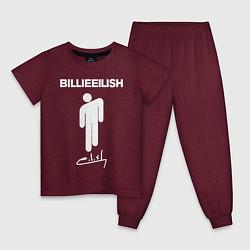 Пижама хлопковая детская BILLIE EILISH цвета меланж-бордовый — фото 1