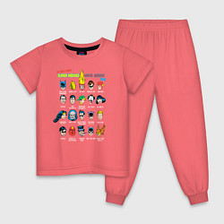 Пижама хлопковая детская Super heroes have issues too цвета коралловый — фото 1