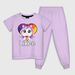 Пижама хлопковая детская Likee LIKE Video цвета лаванда — фото 1