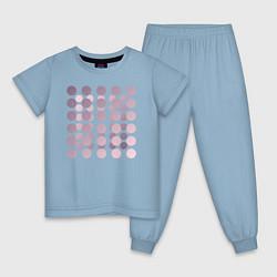 Пижама хлопковая детская Abstract circles цвета мягкое небо — фото 1