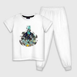 Пижама хлопковая детская Эволюция от Доктора Камня цвета белый — фото 1